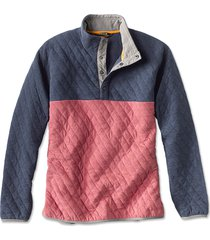 outdoor quilted snap sweatshirt, red clay/navy, xx large