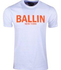 ballin est. 2013 heren t-shirt regular fit wit neon oranje