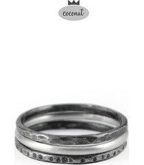 pierścionek texture - 3 obrączki srebro t13