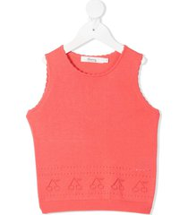 bonpoint knitted perforated cherry vest - pink