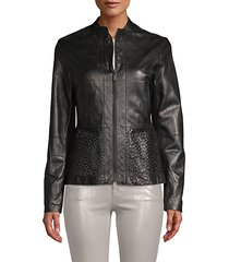 grace leather cutout jacket