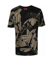 hugo camiseta mangas curtas com estampa floral - preto