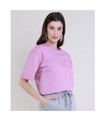 t-shirt feminina mindset alongada manga curta decote redondo rosa