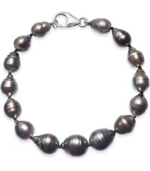 baroque black tahitian pearl (8 - 11mm) graduated bracelet