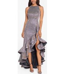 betsy & adam galaxy glitter gown