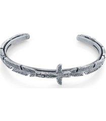 t.r.u. by 1928 pewter tone totem pole feather cuff bracelet