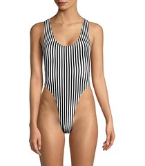norma kamali women's striped one-piece swimsuit - ivory black - size s