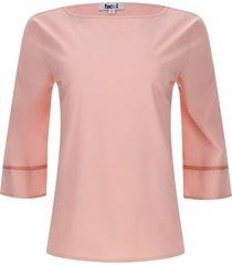 blusa mujer detalle en mangas color rosado, talla 10