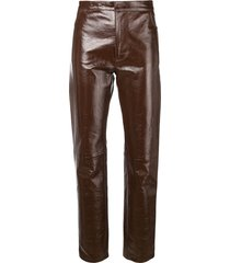ami patent leather pants - brown