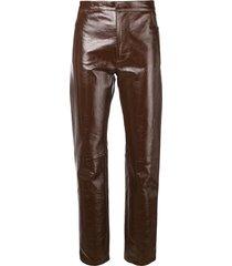ami paris patent leather pants - brown