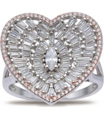 cubic zirconia baguette heart statement ring in sterling silver