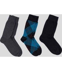 tripack calcetines algodón rombos azul baziani