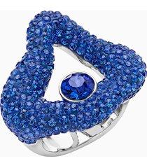 anello aperto tigris, azzurro, placcatura in palladio