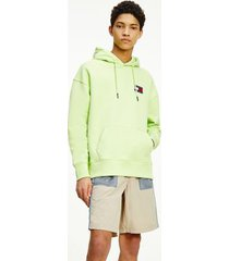 tommy hilfiger men's organic cotton tommy badge hoodie faded lime - xxl