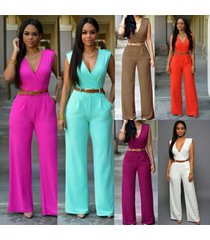 women's fashion jumpsuit rompers v-neck sleeveless slim fit wid leg casual