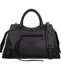 balenciaga neo classic m tote in black leather