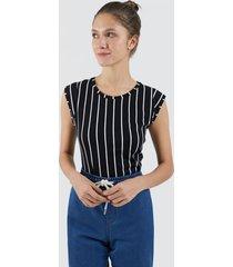 camiseta mujer lineas verticales color negro, talla 10