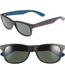 ray-ban small new wayfarer 52mm sunglasses - rubber black/ green solid