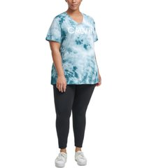 calvin klein plus size performance tie-dyed v-neck logo top