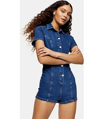 stretch denim button through mini romper - mid stone