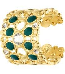 anello regolabile a fascia larga in ottone dorato con cristalli e smalto verde per donna