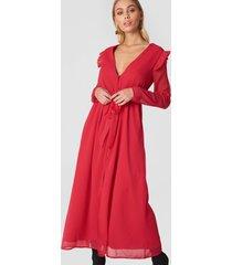 na-kd boho deep v chiffon dress - red