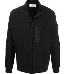 stone island zipped short sweatshirt - black