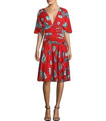 flutter-sleeve floral a-line dress