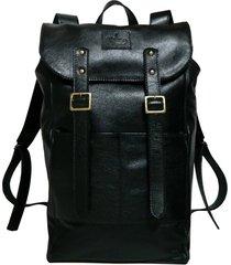 mochila line store leather adventure couro preto.