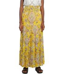 falda amarillo-multicolor desigual