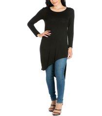 women's long sleeve knee length asymmetrical tunic top