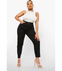 plus high rise mom jeans, black