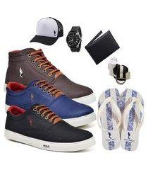 kit 3 pares sapatênis polo blu casual cano alto e cano baixo café/azul/preto acompanha boné + cinto + meia + carteira + relógio + chinelo