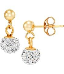crystal ball dangle drop earrings in 10k gold