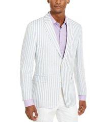 tommy hilfiger men's modern-fit blue/white stripe sport coat