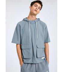 camiseta de hombre con capucha y cordón de bolsillo liso