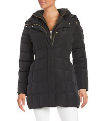 shirred-waist hooded quilted down coat