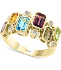 effy multi-gemstone (2-3/8 ct.t.w.) & diamond (1/6 ct. t.w.) ring in 14k gold