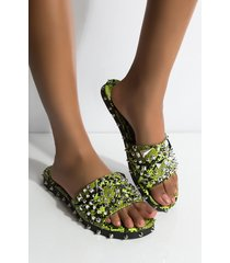 akira cape robbin find another victim slip on studded sandal