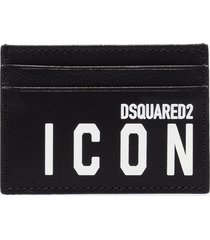 dsquared2 icon logo-print leather card holder - black