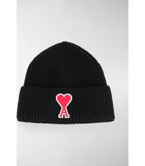 ami logo-patch knitted beanie hat