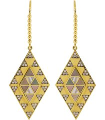 mother of pearl and diamond inlay shield earrings
