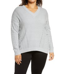 plus size women's caslon v-neck cable sweater, size 1x - grey