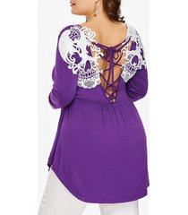plus size crochet trim open back t-shirt