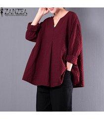 zanzea mujeres compruebe tela escocesa partido holgada blusa de algodón ocasional de lino otoño cuello en v manga larga camisa floja de gran tamaño superior blusas rojo -rojo