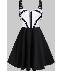 two tone grommet zipper flare mini dress