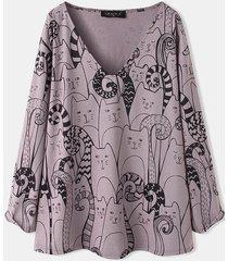 camicetta da donna a maniche lunghe con scollo a v stampa cartone animato gatto plus