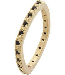 anel narcizza quadrado com cantos arredondados e zircônia onix banhado no ouro