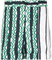 green multicolored striped shorts