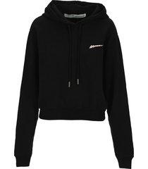 off white woman crop hoodie